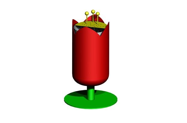 tekening van een tulp prullenbak